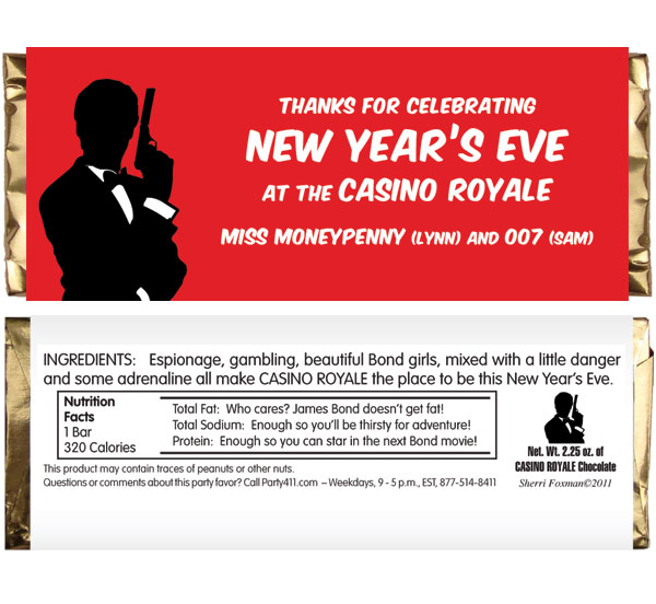 "Casino Royale Theme Candy Bar Wrapper / A ""black tie"" kind of party favor."