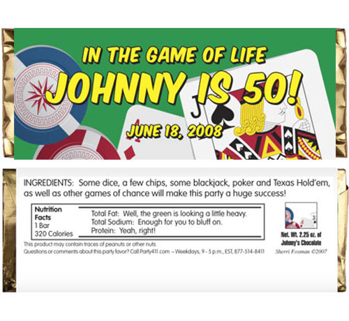 Casino Cards Theme Candy Bar Wrapper / Win big with this casino party favor.