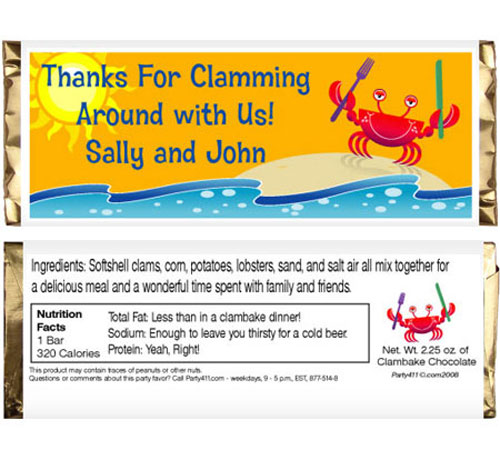 Crab and Clambake Theme Candy Bar Wrapper / Thank everyone for attending your clambake