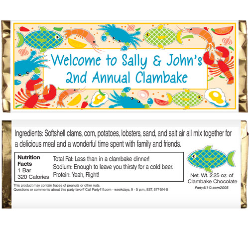 Clambake Theme Candy Bar Wrapper / Send your guests home with these themed personalized candy bar wrappers