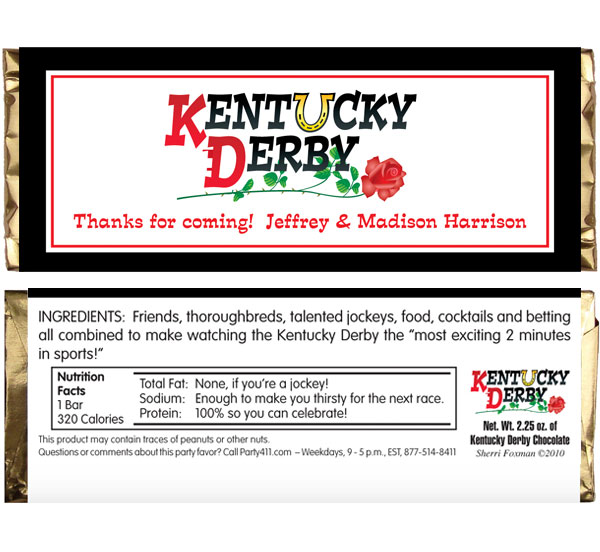 Kentucky Derby Theme Candy Bar Wrapper / A Kentucky Derby candy bar wrapper