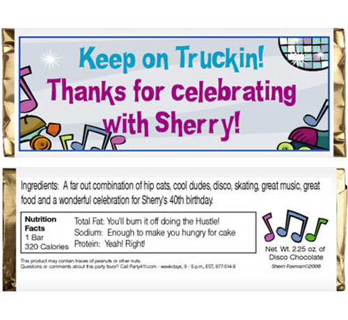 Disco Theme Candy Bar Wrapper / This party favor will help Keep on Truckin'