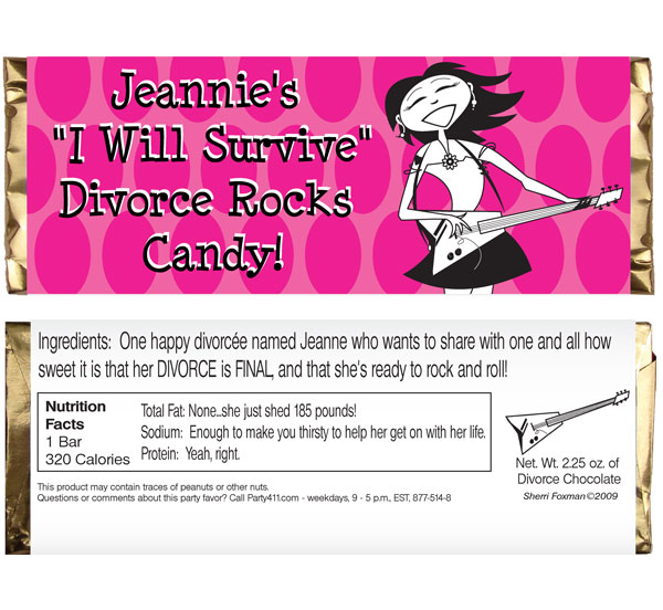 "Divorce ""I Will Survive"" Candy Bar Wrappers"