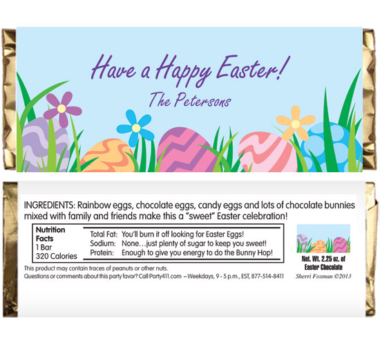 Easter Eggs Spring Theme Candy Bar Wrapper