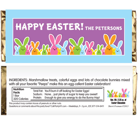 Colorful Easter Bunnies Theme Candy Bar Wrappers