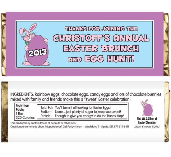Easter Bunny Theme Party Candy Bar Wrapper / This candy bar wrapper is a great party favor for your Easter celebration