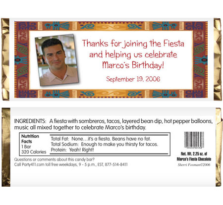 Fiesta Theme Photo Candy Bar Wrapper