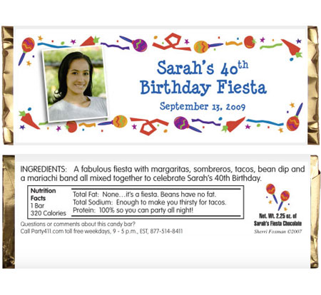 Fiesta Party Theme Candy Bar Wrapper / Picture yourself at a birthday fiesta party!