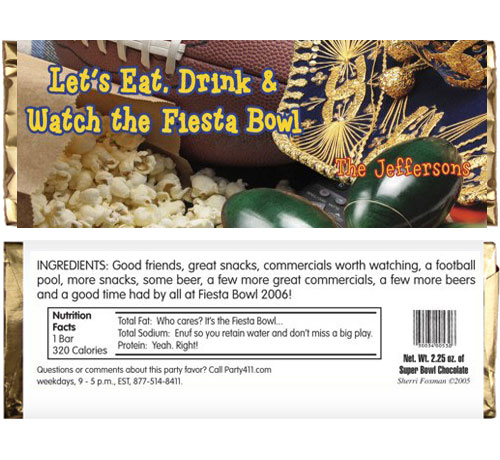 Football Fiesta Bowl Candy Bar Wrapper