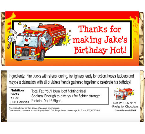 Firefighter Theme Candy Bar Wrapper