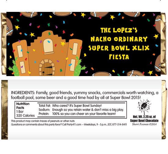 Super Bowl Fiesta Theme Candy Bar Wrapper / A candy bar for your Super Bowl fiesta