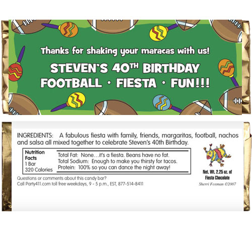Football Maracas Theme Candy Bar Wrapper / Where you shake maracas instead of pom-poms.