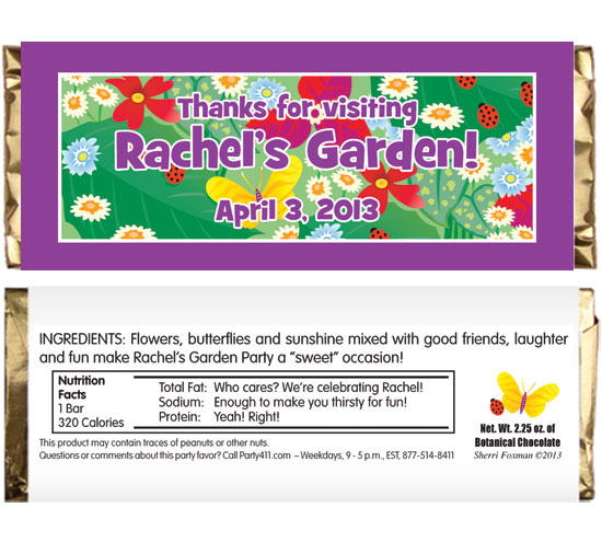 Garden Theme Candy Bar Wrapper / Your guests will love this personalized candy bar wrapper