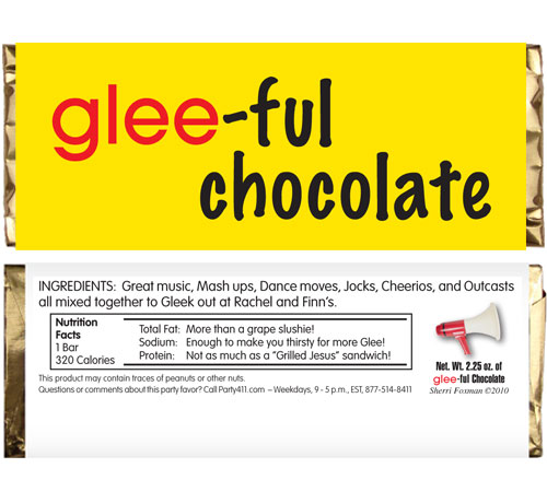 GLEE Theme Candy Bar Wrapper / A favor so fun it will make you to sing!