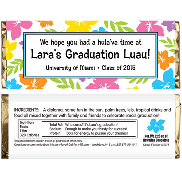 Graduation Luau Hibiscus Theme Candy Bar Wrapper