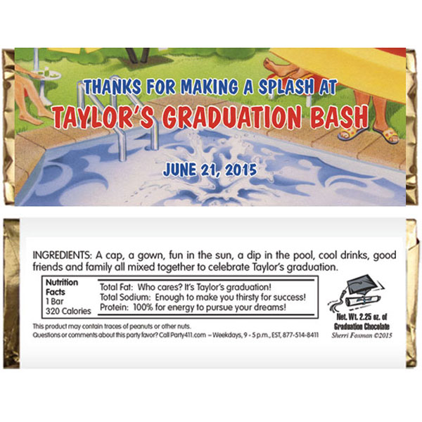 Graduation Pool Theme Candy Bar Wrapper / Make your graduation bash a splash!