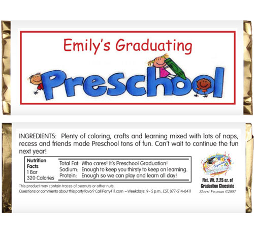 Graduation Kids Preschool Candy Bar Wrapper / A simple and easy graduation party favor