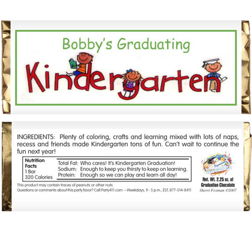 Graduation Kids Kindergarten Candy Bar Wrapper / A delicious graduation party favor