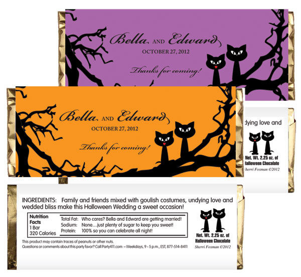Halloween Wedding Theme Candy Bar Wrapper / A Halloween theme wedding candy bar favor