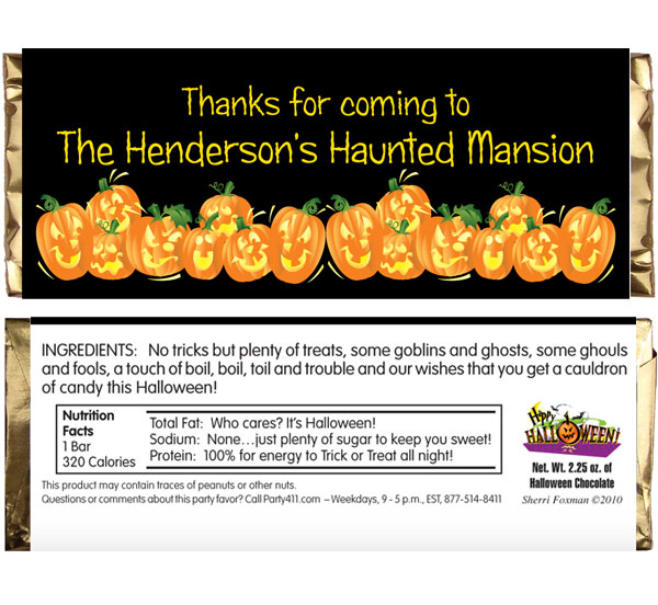 Halloween Fun Pumpkins Theme Candy Bar Wrapper / These pumpkins won't be as sweet as this party favor