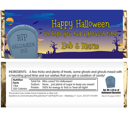 Halloween Graveyard Theme Candy Bar Wrapper / A theme candy wrapper is a great party favor