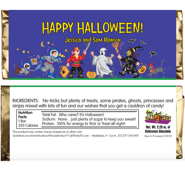 Halloween Kids Trick-or-Treat Theme Candy Bar Wrapper