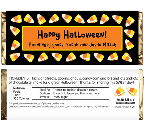 Halloween Sweet Candy Corn Theme Candy Bar Wrapper
