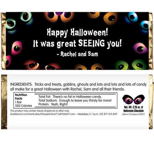 Halloween Eyes Theme Candy Bar Wrapper