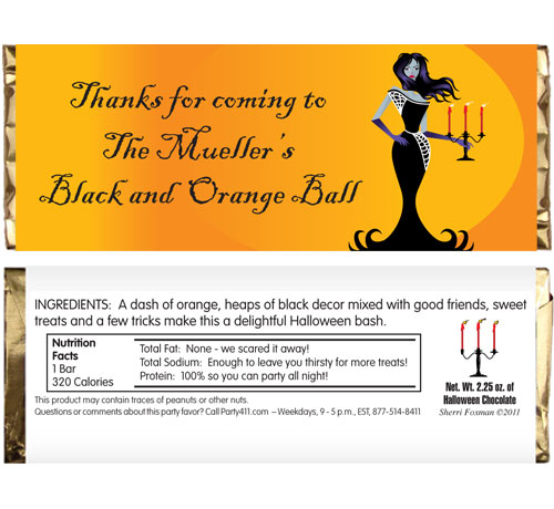 Halloween Ball Theme Candy Bar Wrapper / This Halloween Party favor will be a hit