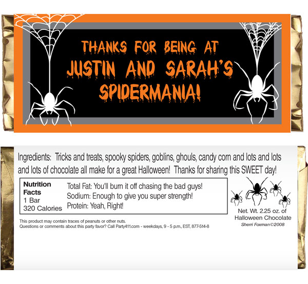 Halloween Spiders Theme Candy Bar Wrapper / Spooky spiders add to the fun on this personalized label