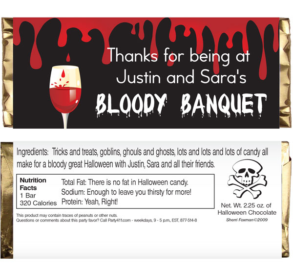 Halloween Bloody Banquet Theme Candy Bar Wrapper / A perfect favor for any bloody banquet