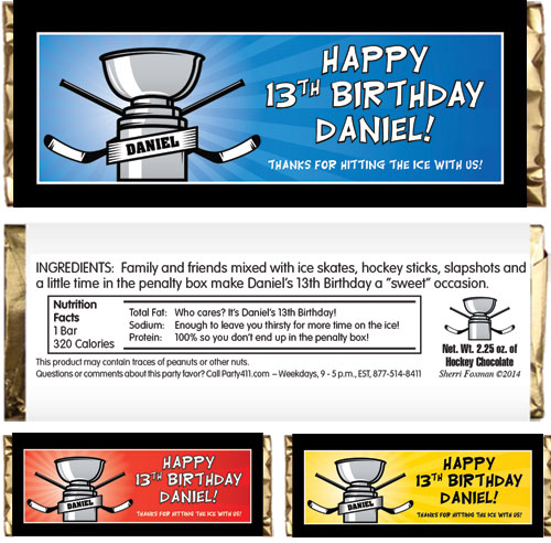 Hockey Cup Theme Candy Bar Wrapper