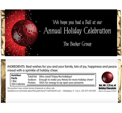Holiday Party Theme Candy Bar Wrapper / A great party favor for a holiday dance party