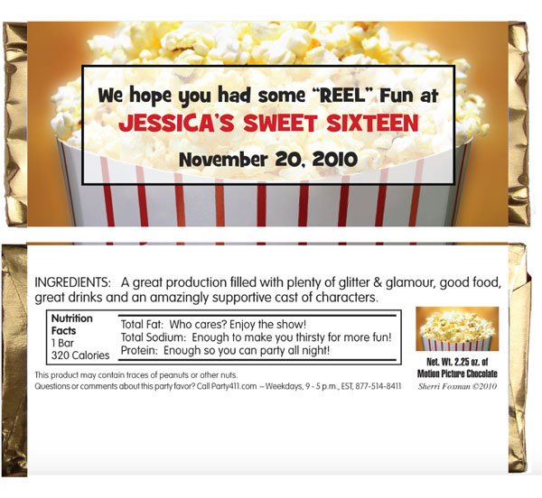 Hollywood Popcorn Theme Candy Bar Wrapper