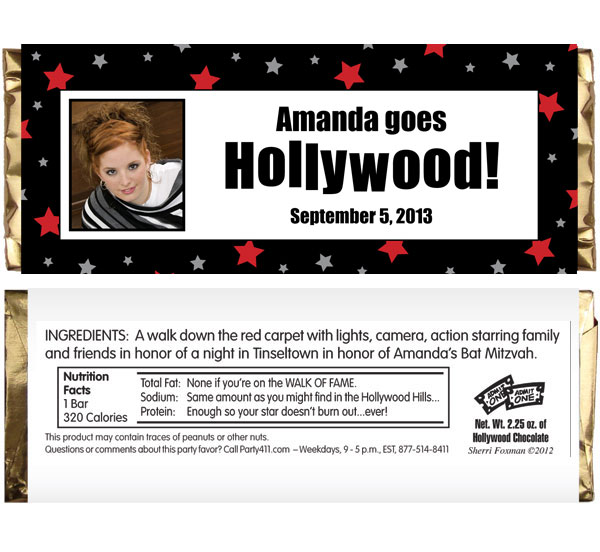 Hollywood Star Theme Candy Bar Wrapper