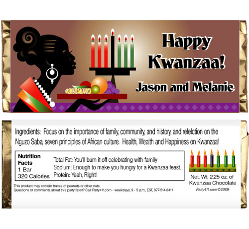Kwanzaa Celebration Theme Candy Bar Wrapper / Food, family and friends. Probably includes chocolate!