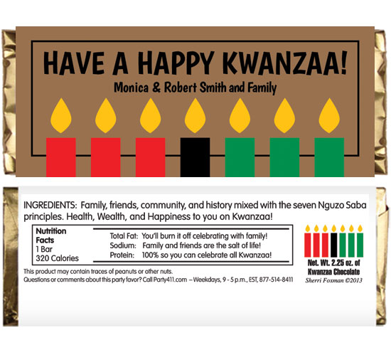 Kwanzaa Kinara Candles Theme Candy Bar Wrapper