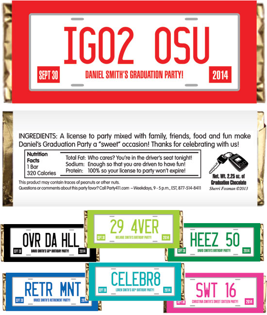 Graduation License Plate Theme Candy Bar Wrapper
