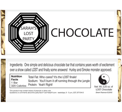 LOST Party Candy Bar Wrapper / This is a great personalized candy bar wrapper for a party favor
