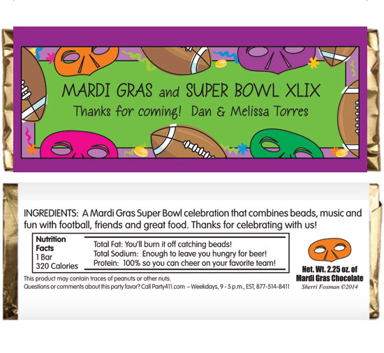 Mardi Gras Super Bowl Theme Candy Bar Wrapper / For a super mardi gras celebration!