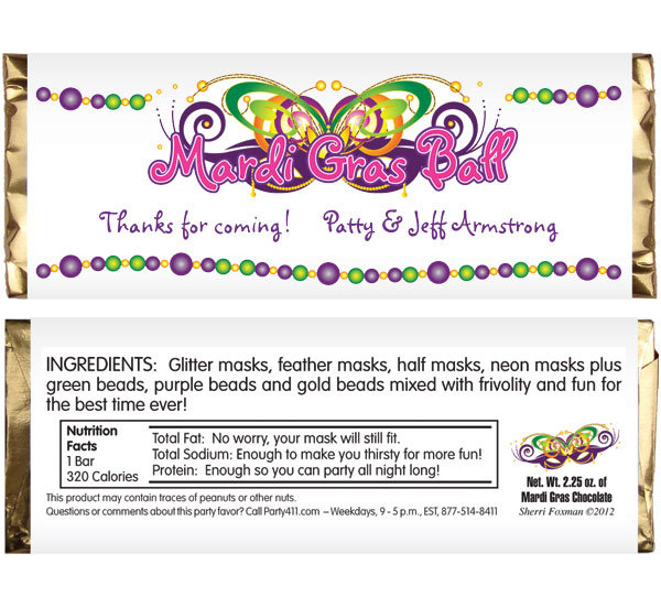 Mardi Gras Ball Theme Candy Bar Wrapper