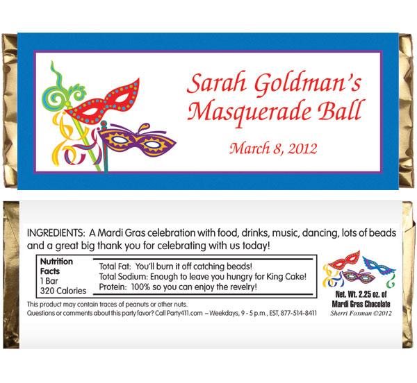 Mardi Gras Masquerade Masks Theme Candy Bar Wrapper