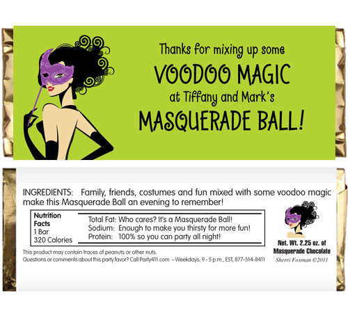 A Masquerade Voodoo Theme Candy Bar Wrapper