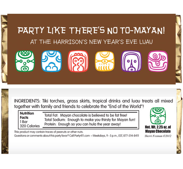 Mayan End of the World Party Candy Bar Wrapper / Pass out candy at the end of the world