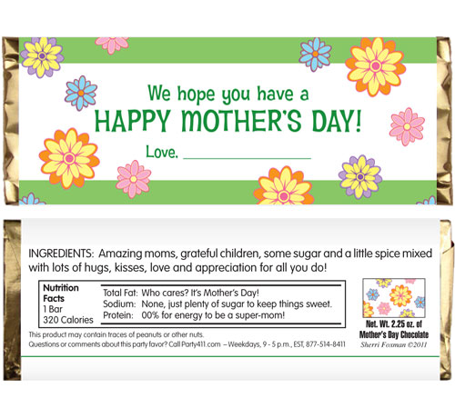 Mothers Day Theme Candy Bar Wrapper / A great favor for a Mother's Day celebration