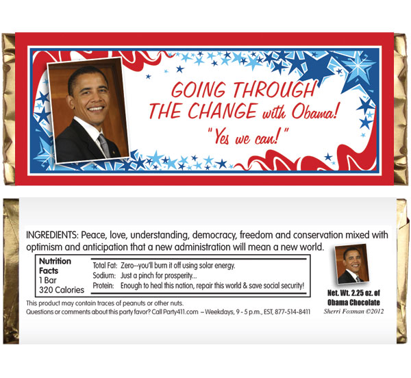 President Obama Inauguration Theme Candy Bar Wrapper