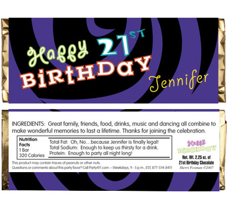 Birthday Swirl Theme Candy Bar Wrapper / A personalized water label for your milestone celebration!