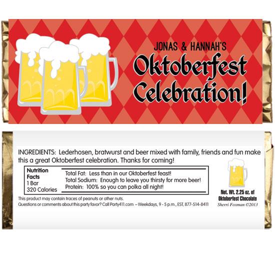 Oktoberfest Beer Theme Candy Bar Wrapper