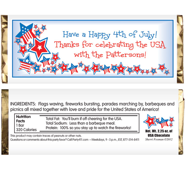 Patriotic Stars Theme Candy Bar Wrapper