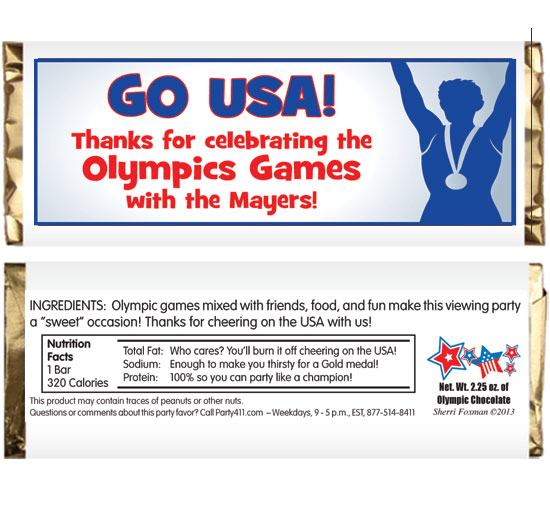 Olympics Theme Candy Bar Wrapper